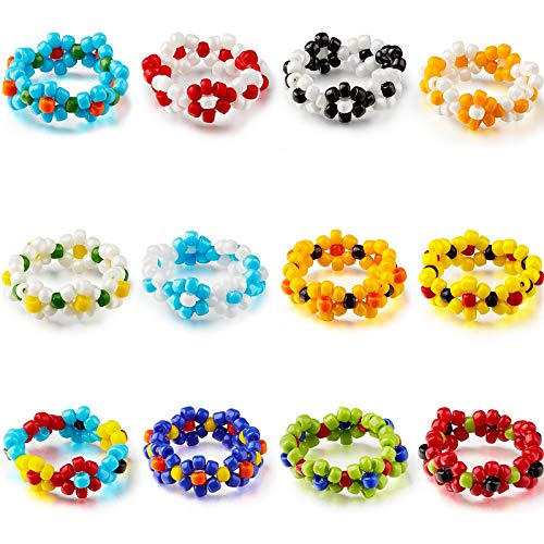 Highergo 12 Pieces Mixed Colorful Flower Beaded Ring Wildflowers Collocation Ring Adjustable Elastic Plant Ring for Women