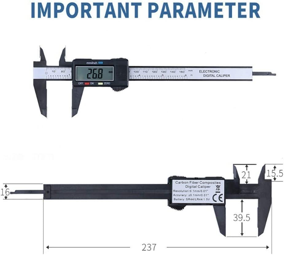 KANJJ-YU 1PC 150MM LCD Electronic Digital Vernier Caliper PA66 Micrometer Measure Tool Gauge Ruler Vernier Caliper Color : Silver