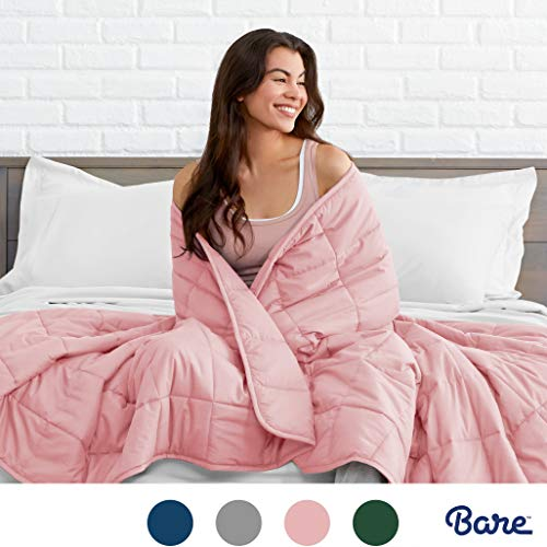 """Bare Home Weighted Blanket for Kids 10lb (40"""" x 60"""") - All-Natural 100% Cotton - Premium Heavy Blanket Nontoxic Glass Beads (Light Pink, 40""""x60"""")"""