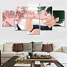 lsscj Modern Canvas Hd Printed Poster Home Decor 5 Pieces My Hero Academia Painting Anime Wall Art Pictures Boy Room Modular Framed-(Frame)-80cm