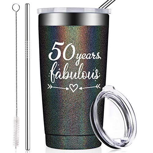 best gifts for co workers under 50 BIRGILT 50th Birthday Gifts for Women Men, Fifty Year Old Present Ideas for Mom Dad Wife Husband Her Best Friends Coworkers, 20oz Tumbler with Lid and Straw