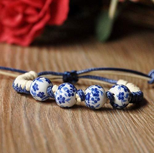 XKMY Pulsera de cuentas de cerámica tejida a mano, estilo étnico, joyería de moda, personalidad, hombres y mujeres, accesorios para mujeres (color de metal: 1)