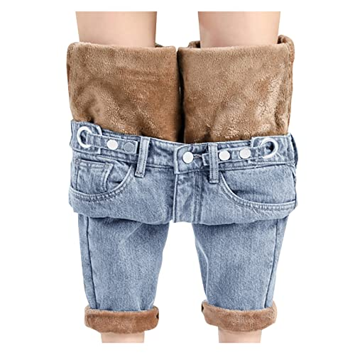 Damen Winter-Jeans Gefüttert-Warm High-Waist Straight-Lang-Fleece-Thermohose: Jeanshose Winterhose Damen Thermo Fleecehose Warm Leicht Outdoor Sporthose