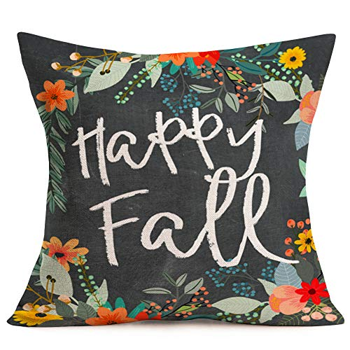 Xihomeli Flower Leaf Wreath Personalized Happy Fall Letters Pillow Cover Halloween Thanksgiving Gift Home Room Sofa Decorative Throw Pillow Case Cotton Linen Square Cushion Case 18' x 18' (Happy Fall)