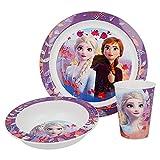 Juego de vajilla infantil de Frozen, juego de desayuno de 3 piezas, juego de vajilla de melamina estable, para niños y niñas a partir de 6 meses, sin BPA (Frozen 2)