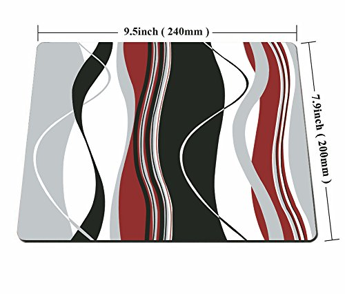 Smooffly Mouse pad Wavy Vertical Stripes Red Black White and Grey Personality Desings Gaming Mouse Pad Photo #5