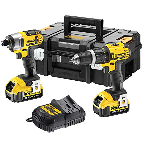 Dewalt DCZ285M2T 18V Combi Drill & Impact Driver 2 x 4Ah Batteries Charger TSTAK