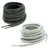 "Round Reflective Shoelaces 2 Pairs 1 Pair White + 1 Pair Black 5/32"" Thick Night Jog Running Safe for Men & Women (45'(114 cm))"