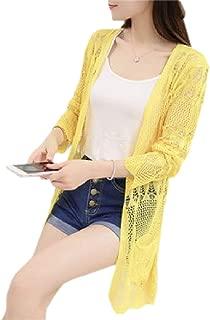 Women Summer Long Sleeve Knit Hollow Fishnet Sun Protective Cardigan