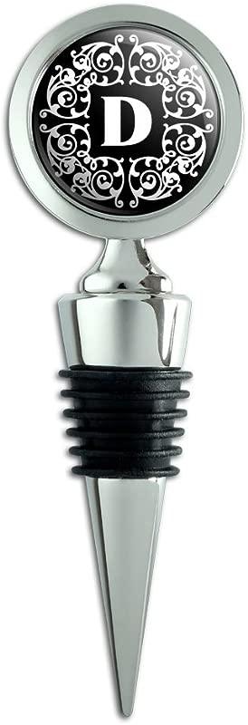 Letter D Initial Black White Scrolls Wine Bottle Stopper