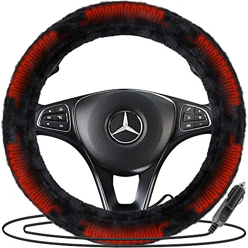 Zone Tech Classic Car Steering Wheel 12V Plush Heated Cover - Classic Black Premium Quality Upgraded Version Hand Warmer Ultra Comfortable 12V Elegant Design Vehicle Heated Wheel Plush Comfy Protector
