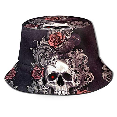 TYUO Sombrero de pescador con diseo de calavera y cuervo con rosas rojas para el sol, para pesca al aire libre, senderismo
