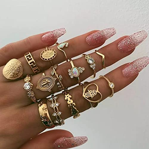 Aukmla Lot de 15 bagues de phalanges style bohémien avec cœur en or et cristal pour femme et fille