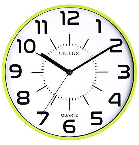 Unilux 400094284 nicht-tickende Wanduhr POP in grün mit schleichendem Uhrwerk 28,5 cm Ø großes Ziffernblatt ohne Ticken
