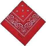 Bandana en 100 % coton Motif paisley 25 couleurs au choix -  Rouge - Taille unique