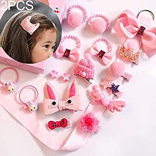 JIANGNIAU Fashion 2 PCS Child Elastic Hair Clips Kids Xmas Gift(Tender Powder) (Color : Tender Powder)
