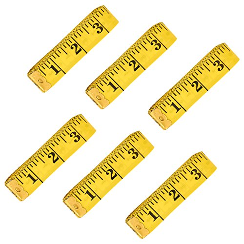 120-Inch Extra Long Measuring Tapes - 6-Pack Soft Tailor Tape Measure, Double-Sided Sewing Tape, Yellow