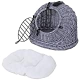 PawHut Wicker Pet Carrier Basket Cat Kitten Bed Portable Travel Cage with Soft Cushion Handle Grey, 50 x 40 x 40 cm, 3.6 kg