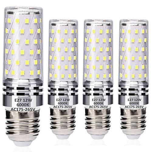 E27 LED Maíz Bombillas 12W Blanco Frío 6000K Equivalente a 100W Halógeno Bulbos, Edison Tornillo LED Ligero Bombillas, sin parpadeo, sin atenuación, 1400LM, CA 230V, paquete de 4