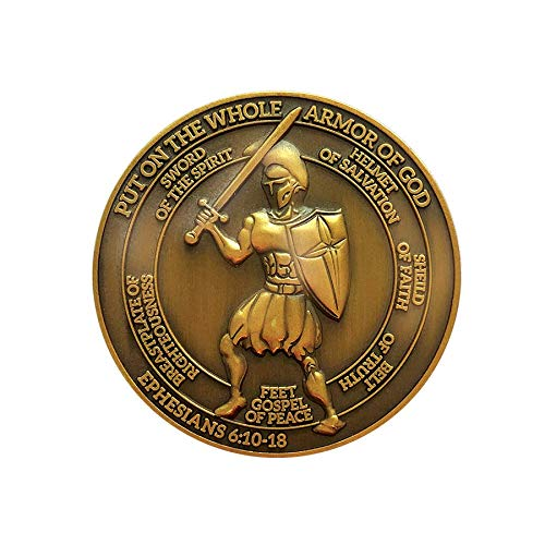 Put on the Whole Armor of God, Challenge Coin, Antique Gold Plated, Armor of God and Ephesians 6