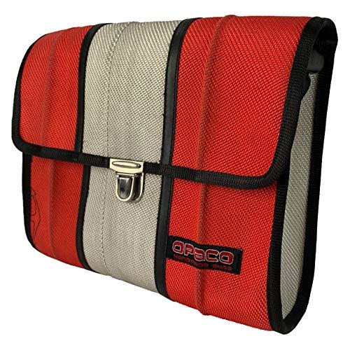 Opaco Nachhaltige Mittelgroße Unisex Messenger Tasche aus Recyceltem Feuerwehrschlauch mit Einzigartigen Einsatzspuren und Aufdrucken (Rot mir Weiß)