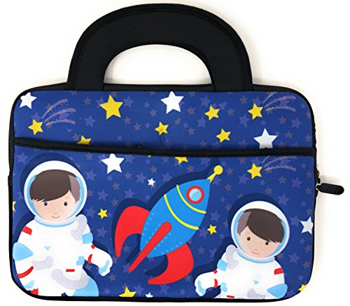 Slim Tablet Case Kids Universal Neoprene Carrying Bag Tote Dual Handles Boy Girl - Zipper Sleeve will fit most 10 Inch devices Water Scratch Dust Proof