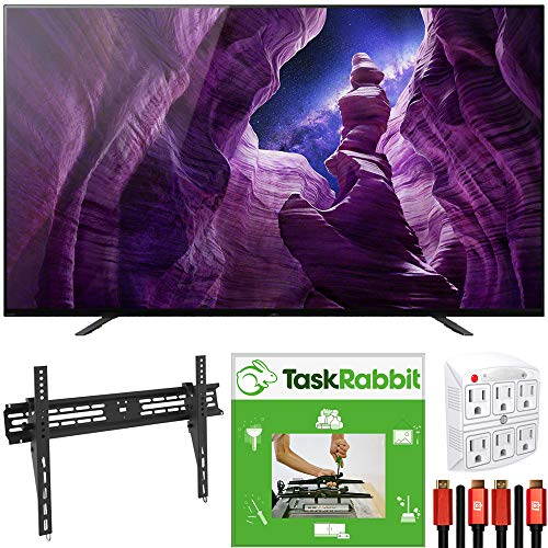 Sony XBR55A8H 55-inch A8H 4K Ultra HD OLED Smart TV (2020) 4K X-Reality Pro Bundle with TaskRabbit Installation Services + Deco Gear Wall Mount + HDMI Cables + Surge Adapter