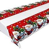 3PCS Nappe Noël Rectangulaire 108cm x 180cm Nappe Plastique Anti Taches Decoration Noel Protection Table (Père Noël + Lapin + Arbre de Noël)