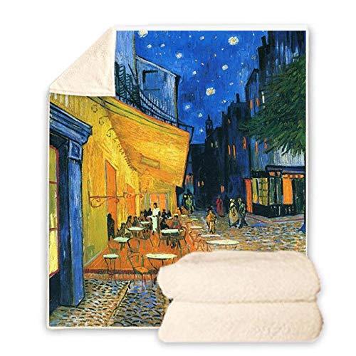 BHOMLY Mantas Para Cama Cuadros De Fama Mundial Van Gogh Calle Paisaje 150X130Cm/59X51 Inch Manta De Franela 3D Manta De Sofá Cama Estampado De Acogedor Manta De Decoración De Dormitorio De Felpa Para