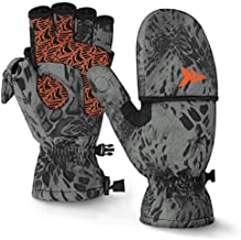 KastKing PolarBlast Ice Fishing Gloves Convertible Mittens – Cold Weather Fishing Mittens and Fingerless Gloves with 3M Thinsulate – Winter Fishing Mittens– Ideal for Ice Fishing, Photography, Large