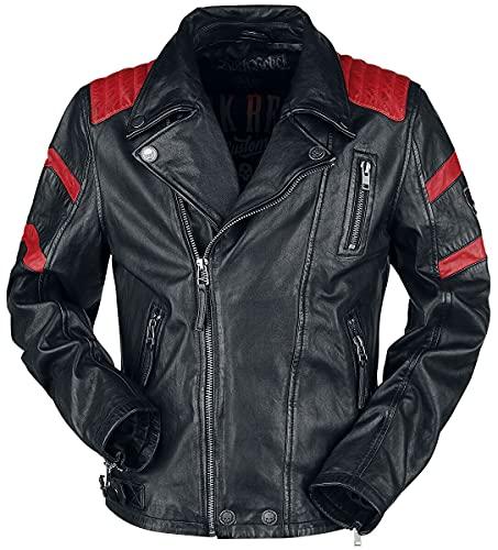 Rock Rebel by EMP Schwarz/Rote Biker Lederjacke Männer Lederjacke schwarz/rot L 100% Leder Rockwear