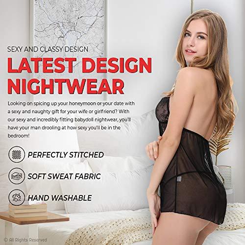 Billebon Women's Nightwear Babydoll Dress - Sexy Lingerie, Sleepwear for Women with G - String Panty, Babydoll Nighty for Special Date or Honeymoon