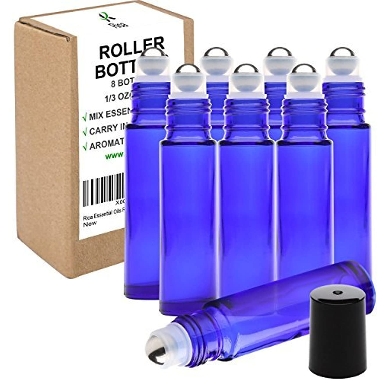 醜い娘ブローRioa 10ml(1/3oz) Cobalt Blue Glass Roller Bottles With Stainless Steel Roller Ball for Essential Oil - Include 8 Extra Roller ball (8 Pieces Cobalt Blue) [並行輸入品]