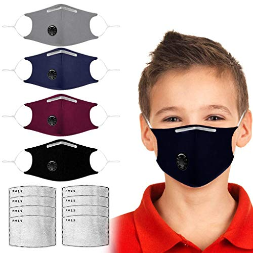 4 Pack Breathable Kids Face Mask with Breathing Valve, Reusable Childrens Mask Including 8 Filter, Anti Dust