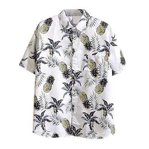 WGNNAA Hawaiihemd Herren Funky 3D Gedruckt Muster Kurzarm Strandhemd Hawaii-Print Party Shirt Button Down Kurzarm Shirt Sommer