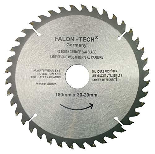 Falon Tech - Lama per sega circolare per legno, 180 x 30-20 mm, 40 denti