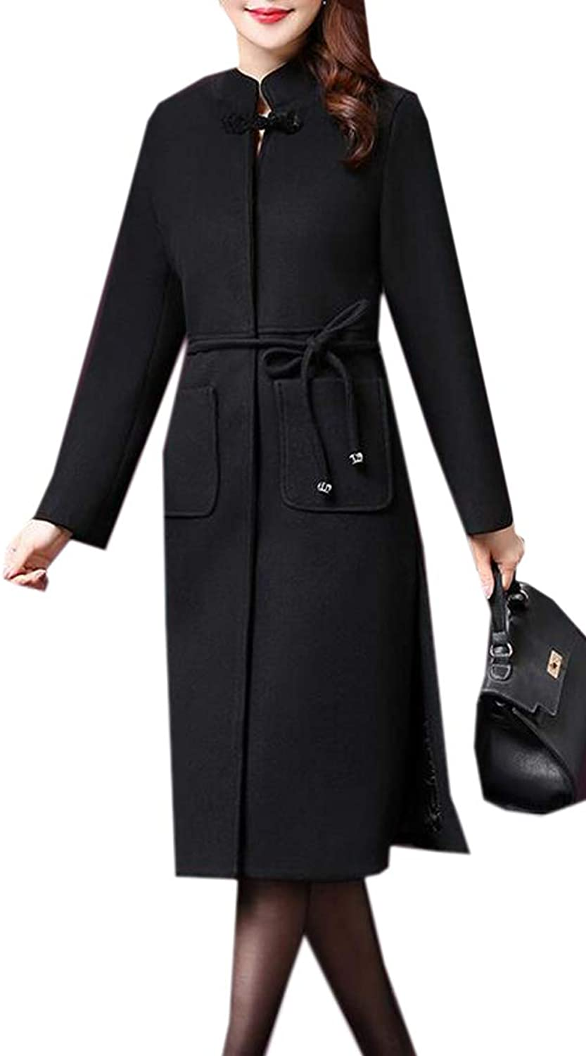 Suncolor8 Women Warm Stand Collar Slim Fit Belted Long Wool Blended Trench Pea Coat Outwear