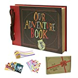 IngTall Scrapbook Photo Album, Our Adventure Book, UP Adventure Scrapbook with Embossed Cover, 11.6x7.5 Inches 80 Pages Photo Book for Anniversary, Wedding, Travelling, Baby Shower