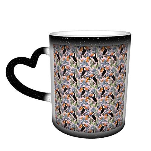 Hdadwy Taza de café de cerámica que cambia el calor, taza de té mágica sensible con patrón de jardín Tucan para café, té, leche o cacao para hombres, mujeres, regalo novedoso