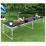 zeipy Folding Portable Aluminum Table, 8FT Adjustable Height Utility Table with Carrying Handle Picnic Table Waterproof Anti-Slip Foot Design, Easy Setup for Indoor Outdoor,Picnic Party Camping