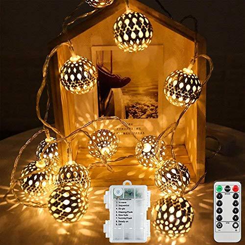 LED Lichterkette, Etmury 40 LED Kugel Lichterkette 4,2M 8 Modi IP65 Wasserdicht Batteriebetriebene Warmweiß Marokkanische LED Lichterkette Beleuchtung Dekoration für Party, Weihnachten, Garten