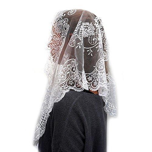 ANGELYK corsets habillés - Mantilla, Robó Triángulo Real de Encaje de Raso Blanco de 60 x 80 x 120cm Católica