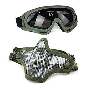 Masque Tactique en Acier de Masque Demi-Masque de Protection pour Airsoft Paintball Cosplay ZAVAREA Airsoft Demi Visage Masque