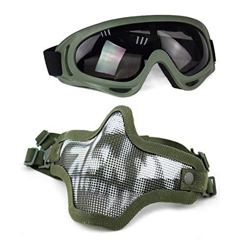 Aoutacc Airsoft Maske und Goggles Set, Half Face Full Steel Mesh Maske und Schutzbrillen für CS/Jagd/Paintball/Schießen (OD-Schädel)