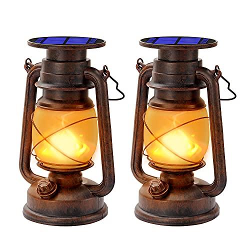 Vintage Solarlaterne Für außen Solar-LED-Sturmlampe Warmweiß Ultra Helle Dimmbare LED-Sturmleuchte Retro Design LED-Sturmlaterne Mit Flammen-Effekt Wasserdicht Für Garten,Camping