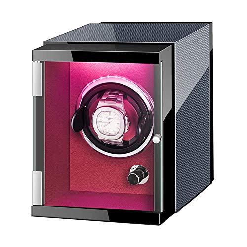XIUWOUG Uhrenbeweger für Automatische Uhr Kohlefaser Leder Außen mit Bunten Lichtern Flexibles Uhrenkissen Leiser Motor (Color : Brown, Size : 1+0)