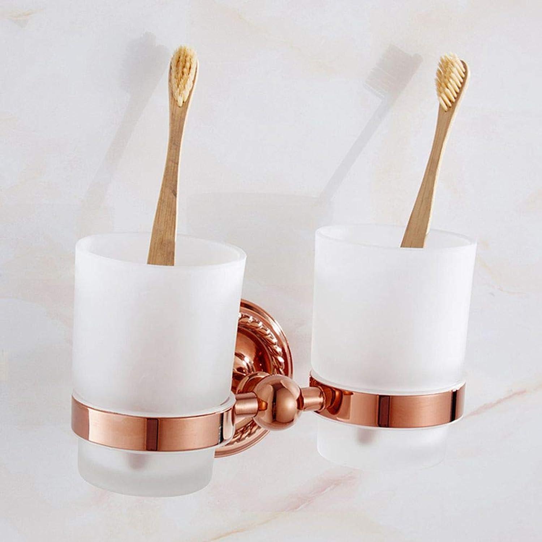 LUDSUY Bathroom accessoriesDrain All Copper and gold Cup Holder European Antique Bathroom Accessories Wash Tumbler Set Brushing A Couple of European Ceramics, D