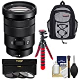 Sony Alpha E-Mount 18-105mm f/4.0 OSS PZ Zoom Lens with Backpack + 3 Filters + Tripod + Kit for A7, A7R, A7S Mark II, A5100, A6000, A6300 Cameras