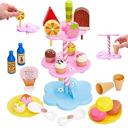 Buyger Colorido Helados Juguetes Supermercado Tienda Desmontar y Ensamblar Juguetes Comida Accesorios Juegos de rol Regalos para Niñas Niños Bebé 3 4 5 Años