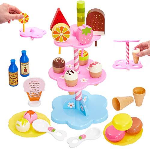 Buyger Eiscreme EIS Spielzeug Eisständer Lebensmittel Kaufmannsladen Kinderküche Zubehör Rollenspiel für Kinder Jungen Mädchen ab 3 Jahre